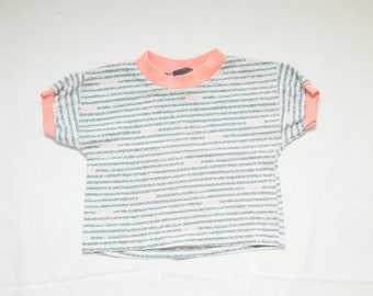 Vintage 1980s Next Wave Grey and Hot Pink Toddler Shirt - Size 3T