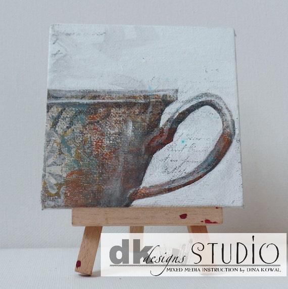 """SALE! Teacup #5 - original 4"""" canvas panel"""