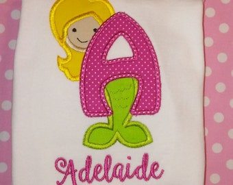 Mermaid Monogram Applique Shirt, Mermaid Alphabet Shirt, Free Name Personalization, Custom Colors are Available! Girls Beach Shirt