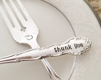 Thank you- apple teacher gift hand stamped salad fork