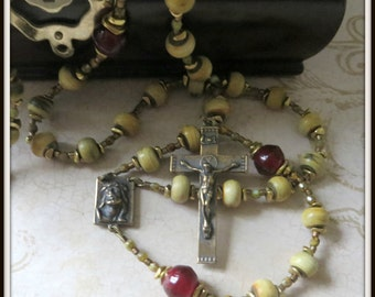 Catholic Rosary in Bronze & Burnt Horn w/ Ecce Uomo Center
