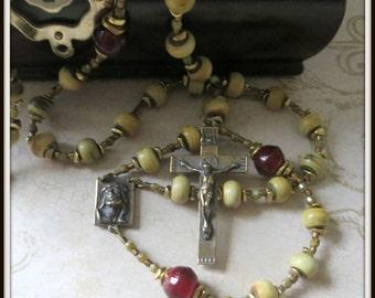 Catholic Rosary for Men, Burnt Horn Rosary w/ Ecce Uomo Center, Bronze Rosary, Handmade Rosary