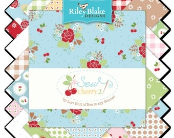 "Sew Cherry 2 5"" Squares Charm Pack by Lori Holt of Bee in My Bonnet for Riley Blake, 30 pieces"