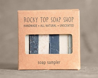 Men's Soap Sampler - All Natural Soap, Handmade Soap, Cold Process Soap, Unscented Soap, Vegan Soap, Men's Soap