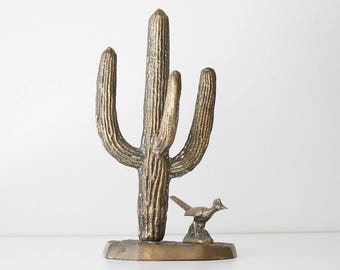 Vintage Brass Saguaro Cactus Figurine