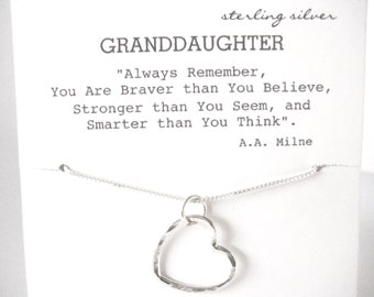 Open Heart Necklace Sterling Silver, GranddaughterGift, Gift for Granddaughter, Granddaughter Jewelry, Granddaughter Necklace