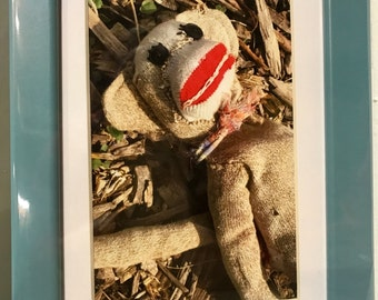 Color matted photograph of sock monkey in the garden framed in 5x7 frame