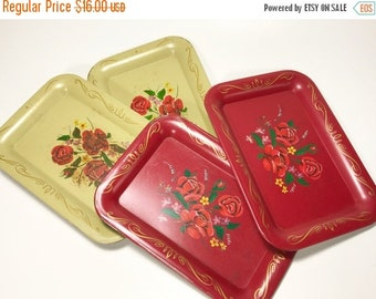 HALF OFF Vintage Small Metal Red Cream Trays Coasters Snack Trays