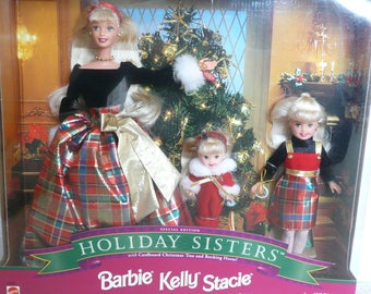 Barbie Holiday Sisters 19809, Barbie, Kelly, Stacie Christmas Dolls, NRFB