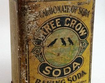 Vintage Tin Three Crow Baking Soda