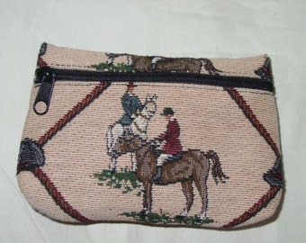 Horse Hunt Scene, Fox Hunt Scene  Make-Up Bag,Equestrian Make Up Bag