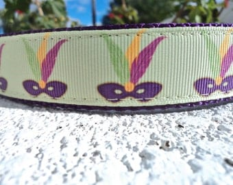"Sale Dog Collar Mardi Gras Mask Lime 1"" wide Side Release buckle or Martingale collar style adjustable"