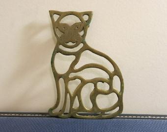 Trivet CAT brass lion tiger pot holder vintage kitchen decor with patina
