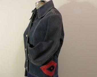 Jacket blue suede western red diamond disco coat M