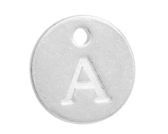 Letter A Silver Plated Alphabet Charm 12mm