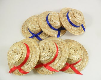 """Straw Doll Hats Miniature Approximately 3 1/2"""" to 3 3/4"""" Diameter - 6 Pieces"""