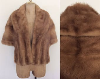 1950's Tan Fur Mink Shawl