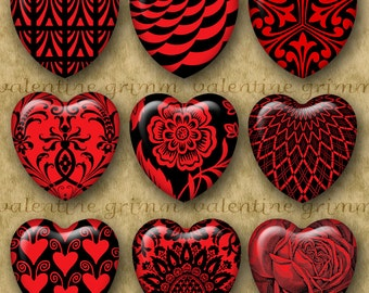 RED & BLACK HEARTS 1 inch Hearts - Digital Printable collage sheet for Jewelry Pendants Crafts...Graphic Designs for Valentines