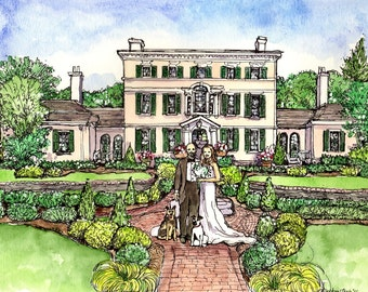 CUSTOM HOUSE PORTRAITS, Wedding Site,Original Pen and Ink Drawing,Watercolor Painting,Wedding Gift,Handpainted from your photos