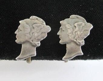 Mercury Dime Cut Out Earrings - Vintage Handmade .900 Silver, Screw Back