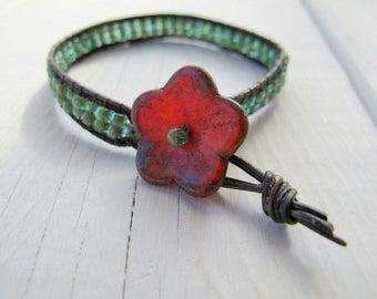 Red Flower Boho Wristband, Woven Czech Glass Bracelet, Bohemian Medium Size Wrist Corsage, Sea Foam Skinny Leather Bracelet