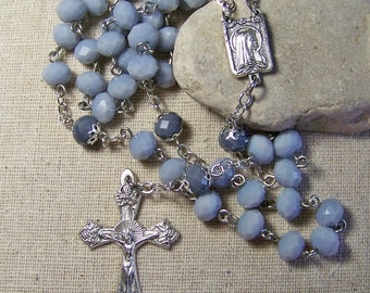 Women's Catholic rosary with opaque gray crystal rondelles
