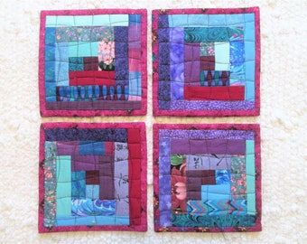 Quilted Spring Patchwork Log Cabin Coaster Set of 4