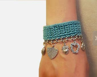 Valentine's Crochet Turquoise Heart Charm Bracelet, Cotton Crochet with Silver Tone Chain and Heart Charms