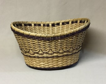 Hand Woven, Victorian Oval Basket, Purple Accent Weaving