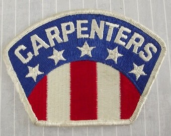 "Used and Shabby Big 4.5"" Sew On Carpenters Patch, Patriotic Tradesman Construction Applique, Carpentry Collectible, Woodworker Gift"