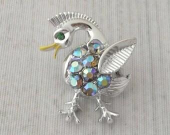 "Vintage Small Duck Pin 1.25"", Blue Aurora Rhinestone Bird Brooch, Water Fowl Jewelry, Figural Accessory, Bird Lover Gift, Ornithology"