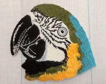 """Big 3.1"""" Macaw Patch, Large Parrot Head Applique, Bird Lover Gift, Ornithologist Ornithology Collectible"""