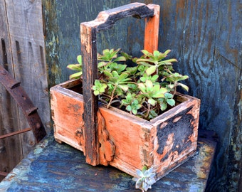 Rustic Orange Planter / Basket / Flower Box / Carryall: Vintage Handmade Wooden Dovetail Garden Decor with Primitive Chippy Paint Patina
