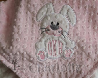 Personalized Minky Baby Blanket, Monogrammed Minky Baby Blanket, Monogrammed Baby Blanket, Bunny Minky Blanket, Baby Girl Baby Blanket