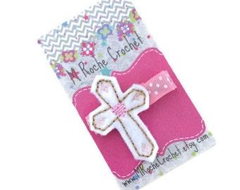 Cross hair clip, cross felt clip, Easter hair clip, baby hair clip, toddler hair clip, hair clippies, baby barrettes, baptism gift