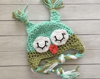 Owl hat, newborn owl hat, crochet sleepy owl hat, toddler owl hat, photography prop, crochet winter hat, newborn photo prop, baby owl hat