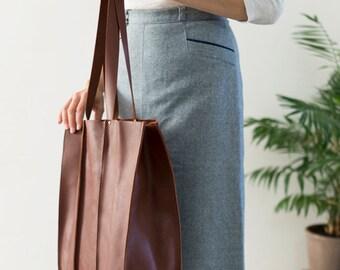 Sale, FOKS FORM Tote Bag 01, Minimal leather tote bag, handbag