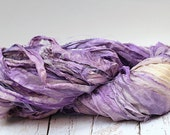 "Recycled Sari Ribbon ,by the yard, ""Mauvine"" hand dyed chiffon ribbon, jewelry making, doll clothing, spinning supplies"