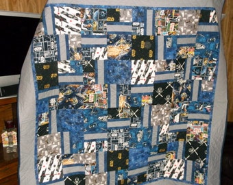 """STAR WARS QUILT New appx 74"""" sq twin/lap/sofa  baby/toddler/lap/wall hanging  Great Gift for Star Wars Trekkie"""