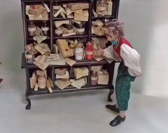 The Dolls House Miniature Cabinet stuffed full of seed jars and books/papers Museum / Collector's Cabinet