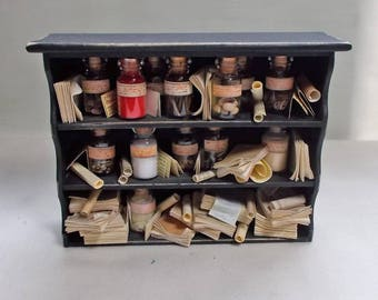 The Dolls House Miniature wall unit stuffed full of seed jars and books/papers Museum / Collector's Cabinet