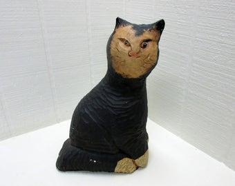Vintage Cat Chalkware Plaster Cat Figurine