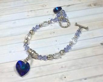 Heart charm bracelet, crystal bracelet, handmade bracelet, everyday bracelet, mom gift, purple bracelet, girlfriend gift, birthdy gift her
