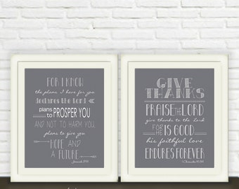 Jeremiah 29/11 & 1 Chronicles 16/34 Printable Art // Bible Verse Wall Art Set of Two // Instant JPEG Download // Scripture Christian Print