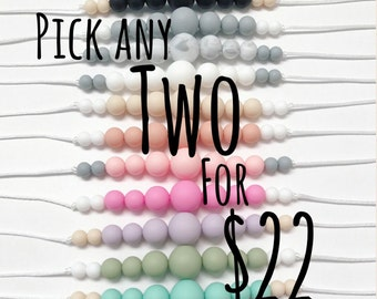 Pick any TWO Baby Teething Necklaces   Silicone Teething Necklace 4 Mom   breastfeeding necklace sensory Chew Beads   Baby