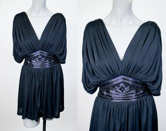 Vintage 80s Top / 1980s Tadashi Black Beaded Draped Tunic Dress S
