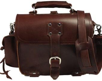 American Made Leather Satchel Messenger Bag, Purse MEDIUM Burgundy