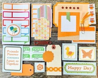 Orange Midori Paper Ephemera Tag + Embellishment Collection . Collage Planner Supplies List Scrapbooking Mixed Media Mini Album Field Notes