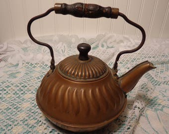 Antique Copper Teapot with Wood Handles  -  17-280