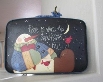 Chubby Little Snowman On Vintage Suitcase - Holiday Snowman - Christmas Snowman